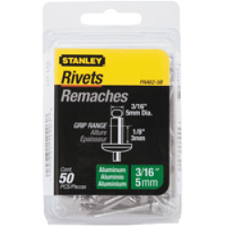 STANLEY� ALUMINUM RIVETS 3/16 IN. X 1/8 IN., 50 PACK