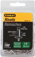 STANLEY� ALUMINUM RIVETS 1/8 IN. X 1/4 IN., 100 PACK