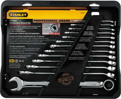 STANLEY� SET WRENCH COMB FULL POLISH PRO SAE 13 PIECE