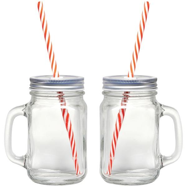 Gourmet By Starfrit 080049-006-0000 Mason Jar Mugs, 2 pk with Straws