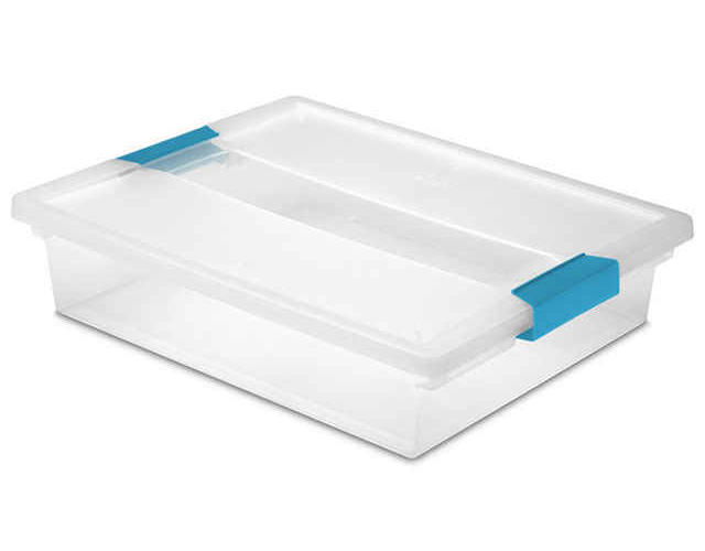 Sterilite 1963 Large Clip Box With Blue Aquarium Latches, 5.5 qt, Plastic, Clear