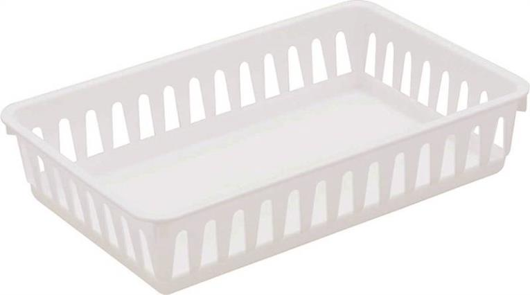 Sterilite 16068024 Small Storage Tray 6-3/8 in W x 9-3/4 in L x 2-1/8 in H, Plastic, White