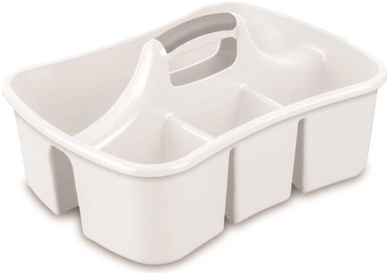 Large Ultra 15848006 Storage Caddy, 17-5/8 in L x 12-5/8 in W x 9-1/4 in H, Plastic, White