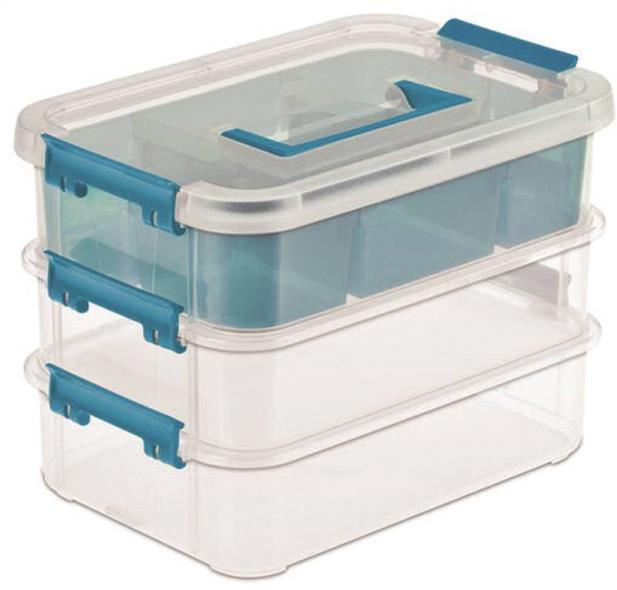 Stack & Carry 3 Layer Handle Storage Box with Divided Tray, Blue/Clear