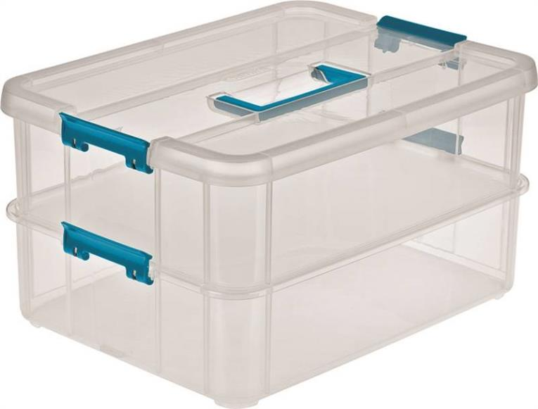Stack & Carry 2 Layer Handle Storage Box, Blue/Clear