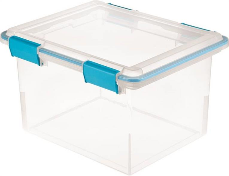 Sterilite 1933 Gasket Box With Blue Aquarium Latches and Gasket, 32 qt, Plastic, Clear