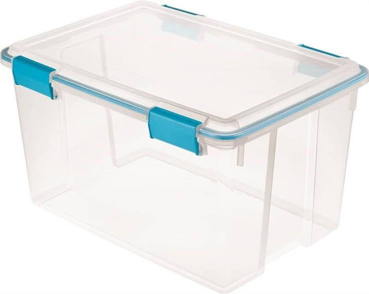 Sterilite 1934 Gasket Box With Blue Aquarium Latches and Gasket, 54 qt, Plastic, Clear