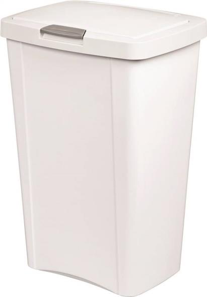Sterilite Touch Top 1045 Wastebasket, 13 gal 16-3/8 in L x 12-5/8 in W x 24-3/4 in D, Polished