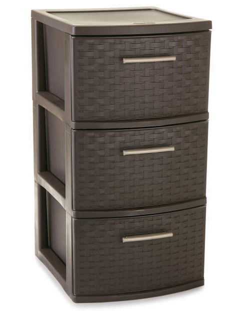 TOWER 3 DRAWER WEAVE EXPRESSO