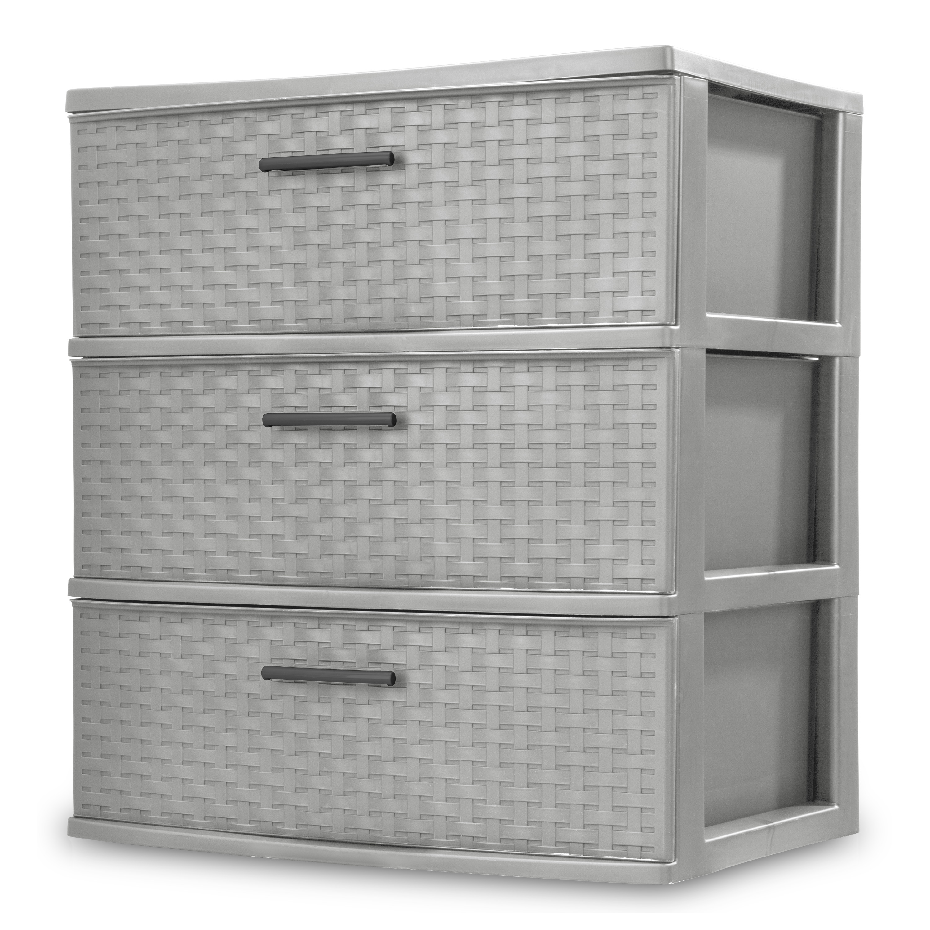 TOWER 3 DRAWER WIDE WVE GRAY
