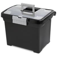Sterilite ShowOffs See-Through Lid File Box 14.88 in W x 18.38 in D x 12-1/4 in H, 35 qt, Black Base and Clear