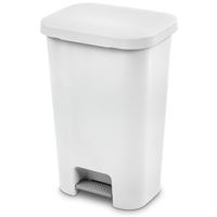 WASTEBASKET STEPON WHT 11.9GAL