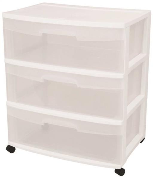 Sterilite 29308001 Wide Storage Cart, 21-3/4 in W x 15-1/4 in L, White