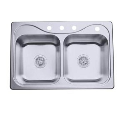 33X22X7 INCHES DOUBLE 4-HOLE SINK