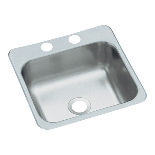 15 X 15 Stainless Steel Bar SINK 2 Hole Large Drain