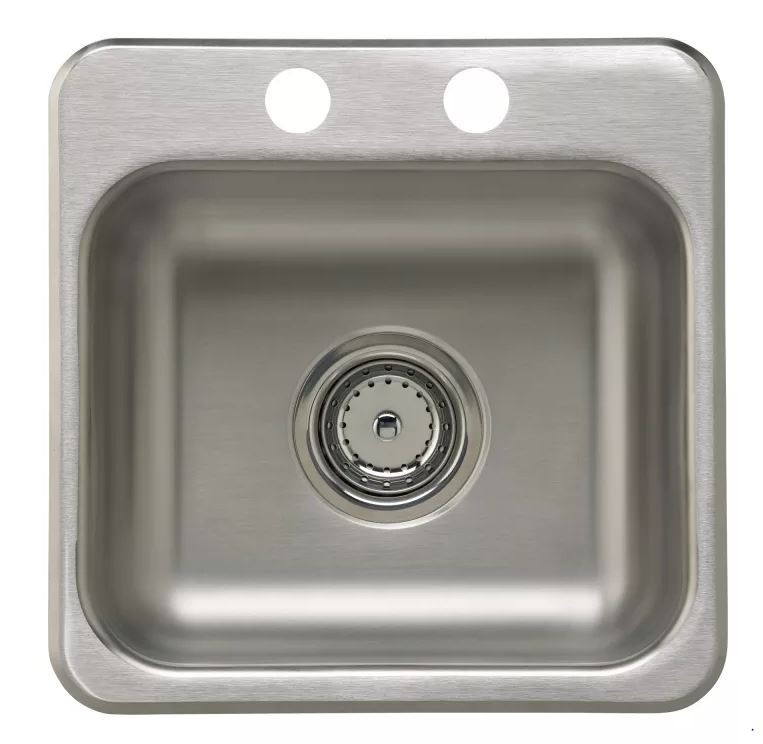 15 X 15 2 Hole Stainless Steel Bar SINK With Strainer