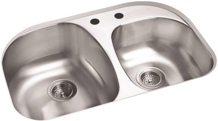 Sterling Cinch Modern Offset Kitchen Sink, 31-1/2 in H x 20-1/2 in W x 9-5/16 in D, Luster