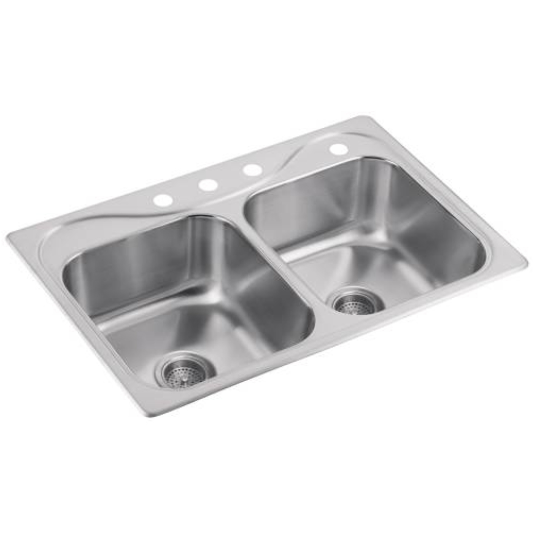 STERLING� DOUBLE-BOWL KITCHEN SINK, 20-GAUGE STAINLESS STEEL, 33X22X8 IN.