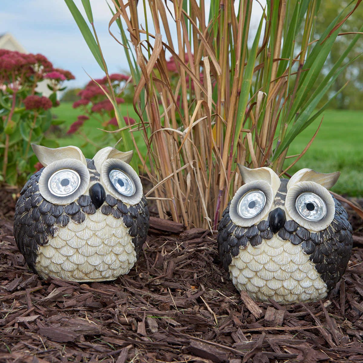 Solar Owl Accent Set of 2