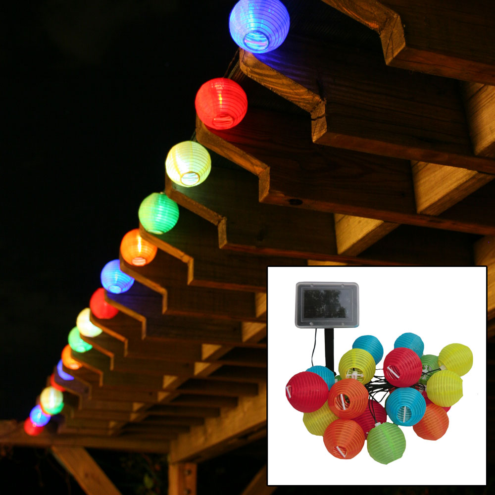 Solar Chinese Lantern Light String 20 count