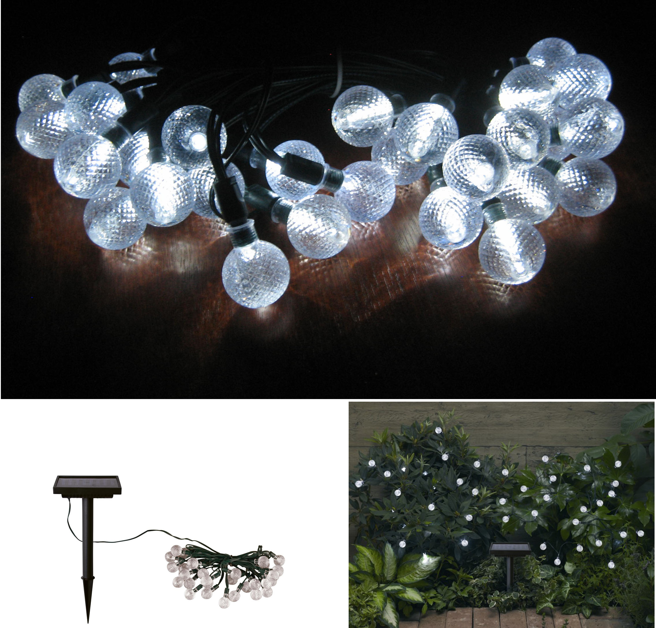 Solar Crystal Balls Light Strings 30 Count With White Led's And NIMH Battery