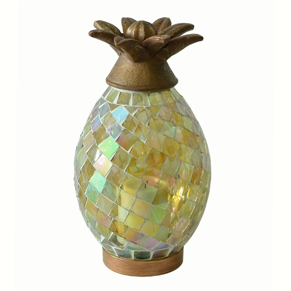 Ananas Glass Mosaic Pineapple with LED Candle