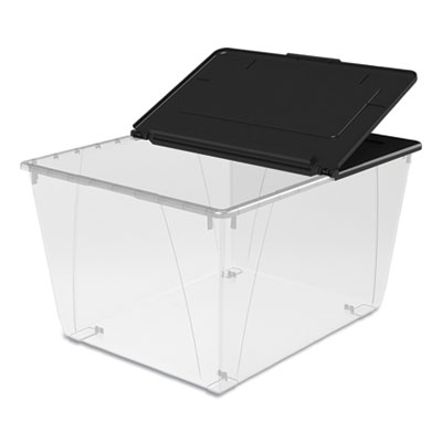 Storage Tote, 22.7w x 18.25d x 12.86h, Translucent/Black