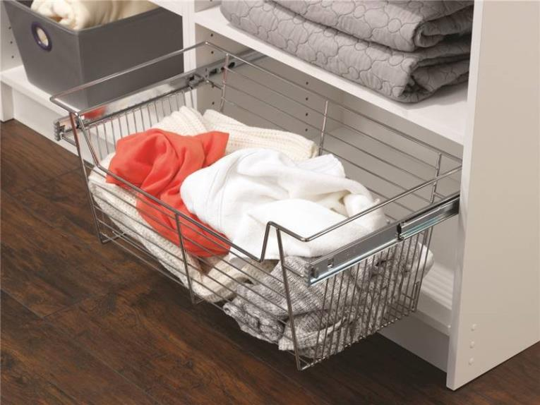 Easy Track 9211-CH Wire Basket, 24 in W X 11 in D, Chrome Plated