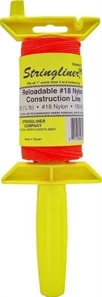 Stringliner Pro Braided Chalk Line With Reel, NO 18, 1/8 in Dia x 250 ft L, Nylon, Fluorescent Orange
