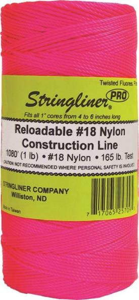 Stringliner Pro Replacement Twisted Construction Line, NO 18 1080 ft L, 165 lb, Nylon, Fluorescent Pink
