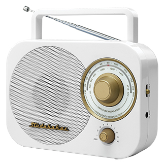 STUDEBAKER SB2000WG WHITE AND GOLD AM/FM PORTABLE RETRO RADIO