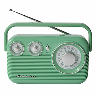 STUDEBAKER SB2003TE TEAL PORTABLE AM/FM CLASSIC RETRO RADIO.