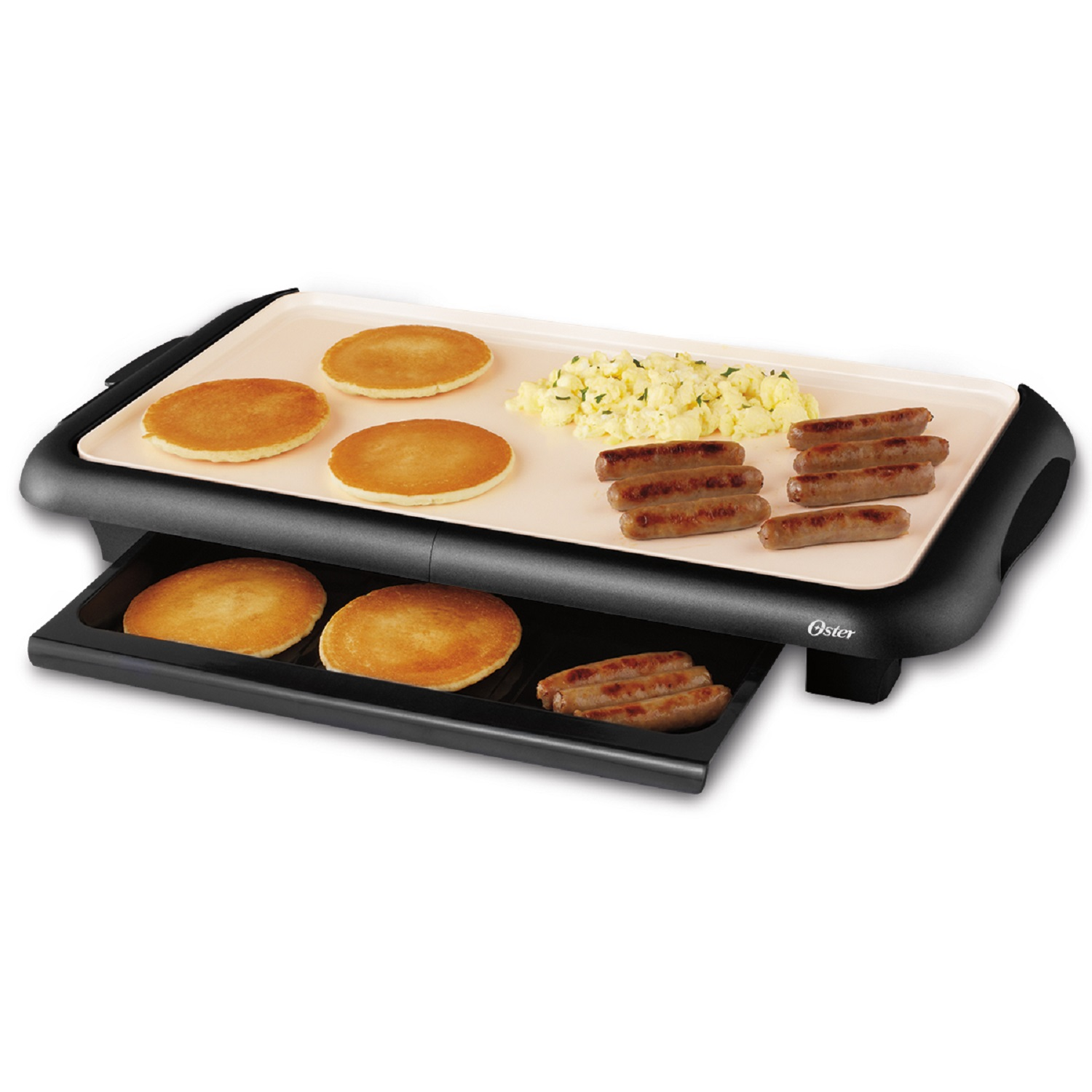 OSTER CKSTGRFM18W-ECO Electric Griddle With Warming Tray 6-1/2 in W x 14 in D x 10 in H, Black/Cream