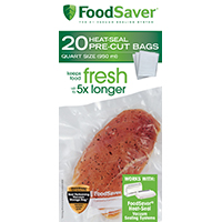 FoodSaver FSFSBF0216-P00 Pre-Cut Heat-Seal Bag, 8 in L x 11-1/2 in D, Multi-Ply, Clear