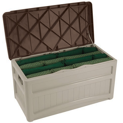 Suncast DB8000B Deck Box, 46 in W X 22 in D X 23 in H, 73 gal Capacity, Light Taupe