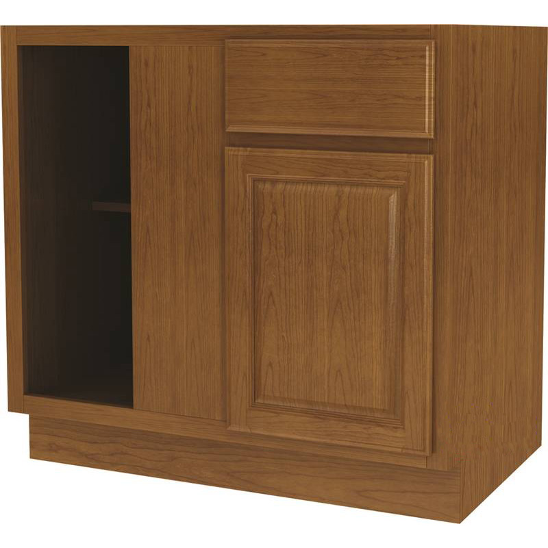 Randolph BBC42RT Wide Corner Base Kitchen Cabinet, 45 in W X 36 in D, Amber