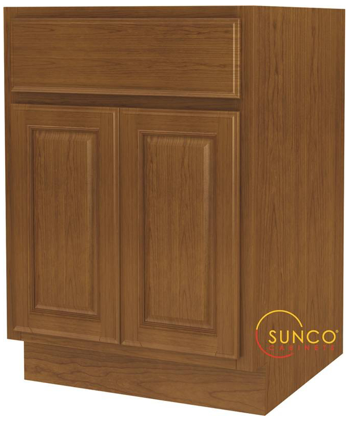 Randolph B24RT-B Double Door Wide Base Kitchen Cabinet With Drawer, 24 in W X 24 in D X 34-1/2 in H