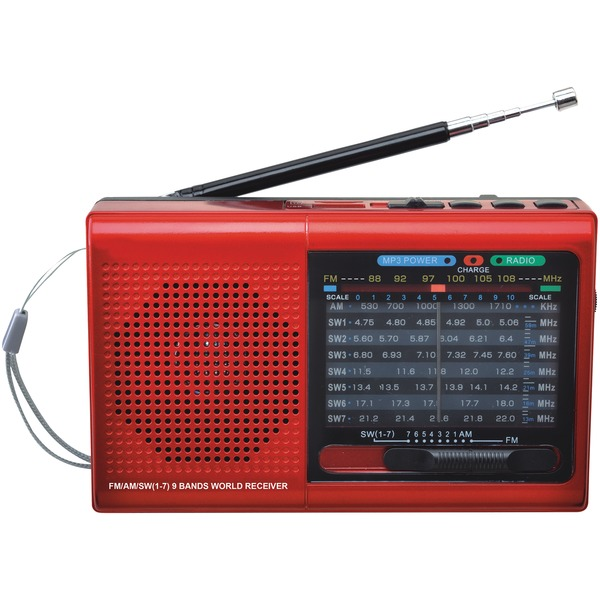 Supersonic SC-1080BT- RED 9-Band Bluetooth Radio