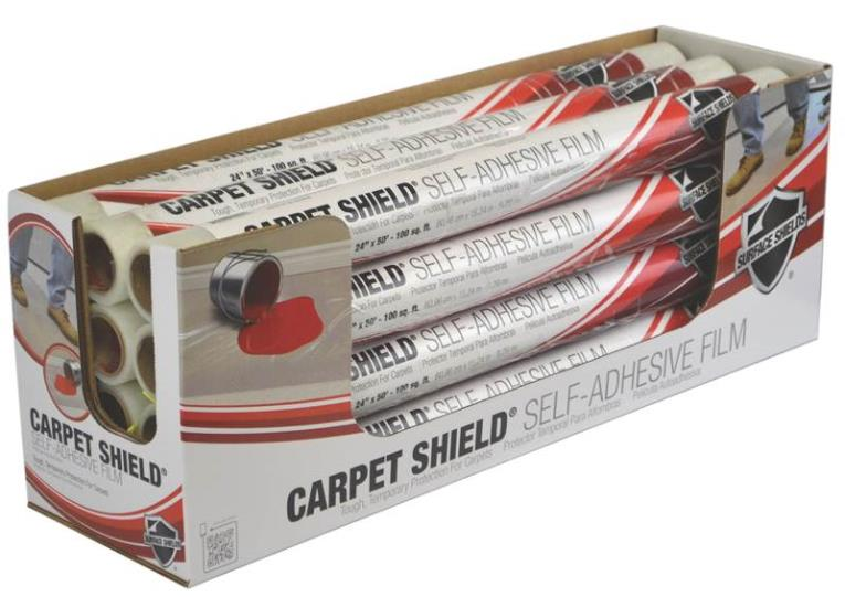 Surface Protection CS2130W Self-Adhesive Carpet Shield, 2 mil T x 21 in W x 30 ft L, Clear