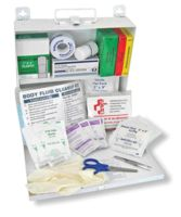 Swift First Aid All In One CPR And Body Fluid Clean Up Kit In Steel Box