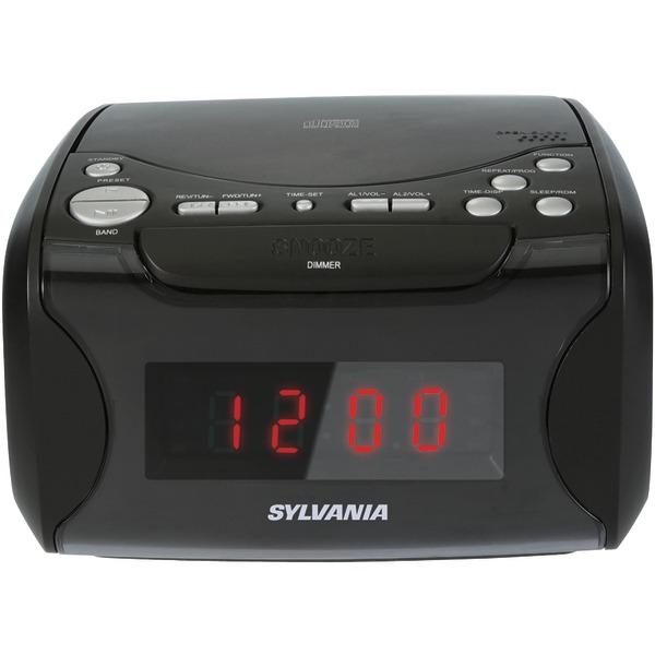 SYLVANIA SCR4986 USB Charging CD Dual Alarm Clock Radio