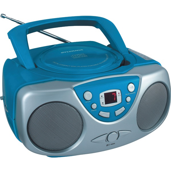 SYLVANIA SRCD243M BLUE Portable CD Boom Box with AM/FM Radio (Blue)
