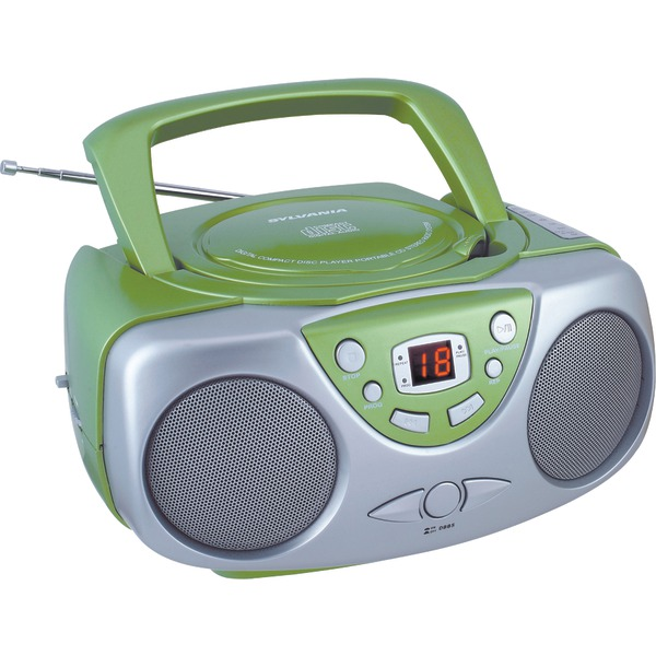 SYLVANIA SRCD243M GREEN Portable CD Boom Box with AM/FM Radio (Green)