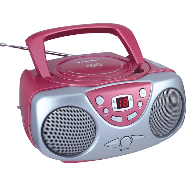 SYLVANIA SRCD243M PINK Portable CD Boom Box with AM/FM Radio (Pink)