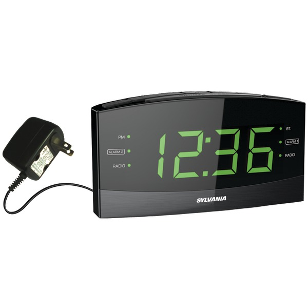 "SYLVANIA SCR1989BT 1.8"" Jumbo Digit Alarm Clock Radio with Bluetooth"