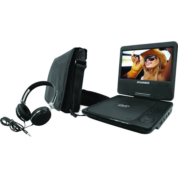 "SYLVANIA SDVD9060-COMBO-BLACK 9"" Swivel-Screen Portable DVD Player with Carry Bag & Headphones"