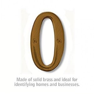 Solid Brass Number - 4 Inches - Antique Finish - 0