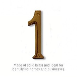 Solid Brass Number - 4 Inches - Antique Finish - 1
