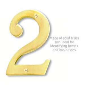Solid Brass Number - 6 Inches - Brass Finish - 2