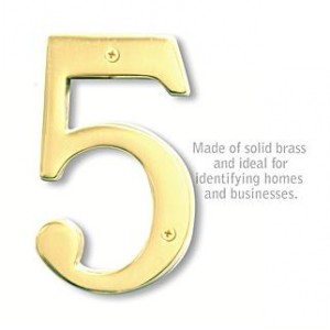 Solid Brass Number - 6 Inches - Brass Finish - 5